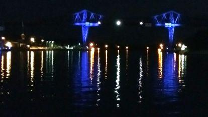 Rendsburg Kanalbrücke bei Nacht