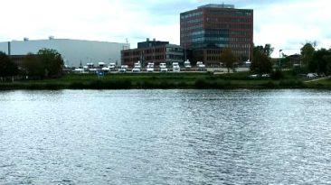 Rendsburg Stellplatz vom anderen Ufer aus