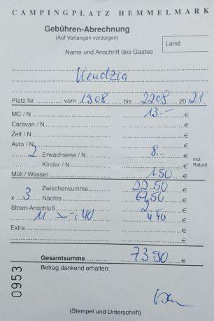 Rechnung CP Hemmelmark